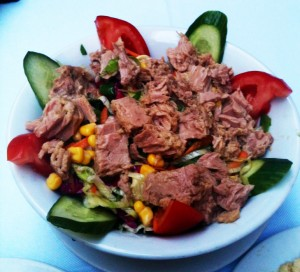Tuna salad in an out-of-the-way restaurant