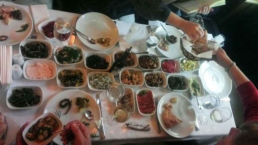 A table of meze in a choice Istabul seafood place.