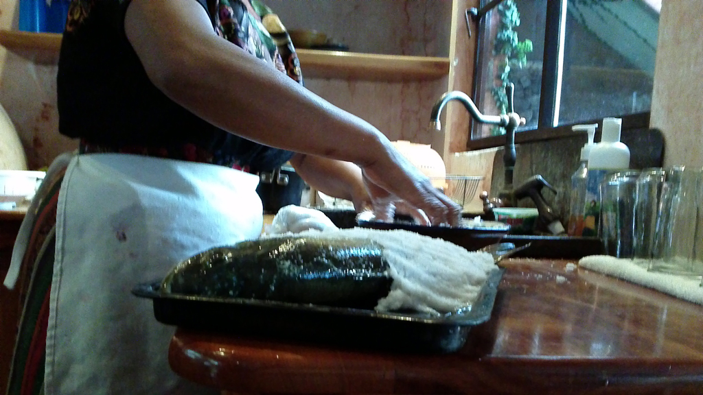 Preparing salted bass